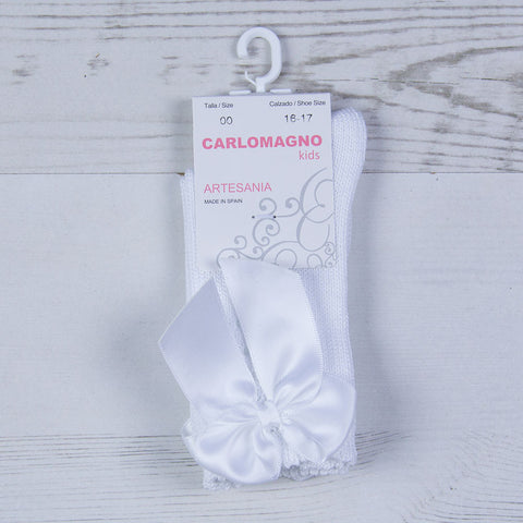 Carlomagno - white single bow long socks 2946