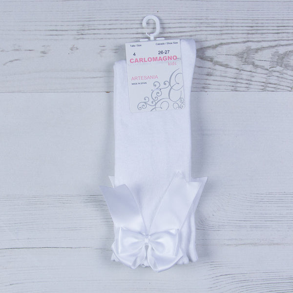 Carlomagno - Long white socks, double bow, UKG2