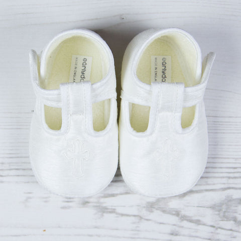Early Days - Baby boys Christening shoe, ivory E034