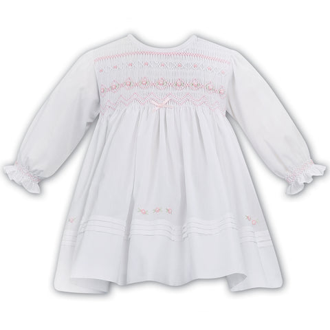 Sarah Louise - Hand smocked dress, white,  012035