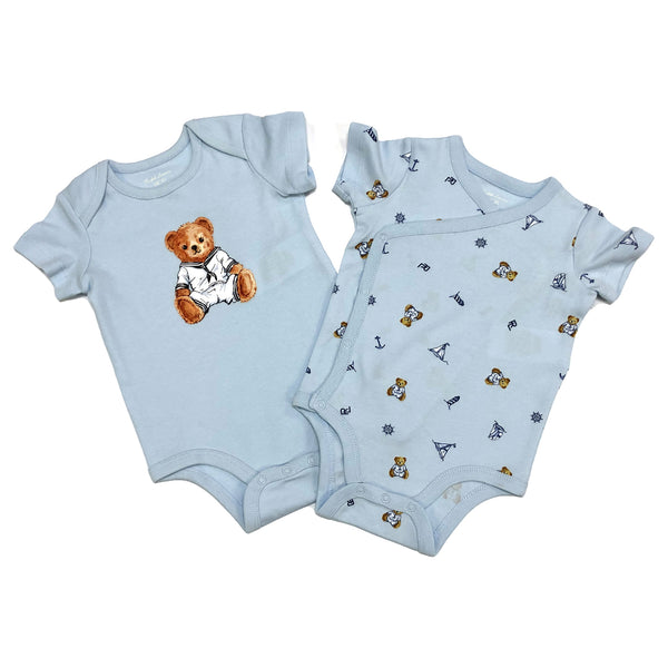 Ralph Lauren, baby boy set, Colour - pale blue  2 piece set, 2 body suits  one with teddy bear and yacht all over print  one with teddy bear sailor front motif  100% cotton  Machine washable 30*