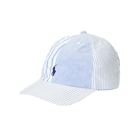 Ages 2-4yrs £29  Agers 4 - 7yrs  £35  Ref: 321835647001  Ralph Lauren boys baseball cap   Chambray blue and white baseball cap  Stripe panels with Ralph pony on front  washable 30*