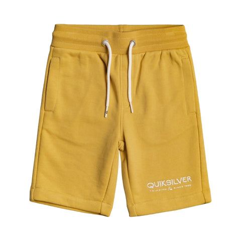 Boys Quiksilver mustard shorts BYJO  2 side pockets one back pocket  Elasticated drawstring waist  Embroidered Quiksilver logo on left leg  60% cotton 40% polyester  Machine washable 30*