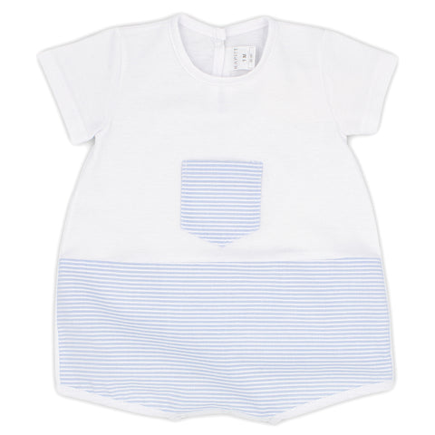 Rapife baby boys all in one, short romper ref: 4810   White top with front pale blue and white stripe pocket  Pale blue and white stripe bottom of romper  popper fastening at back and under legs  100% cotton  Machine washable 30*
