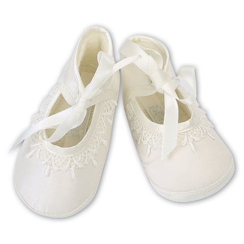 Sarah Louise  -  Baby ivory pram shoes, Christening shoes 004420