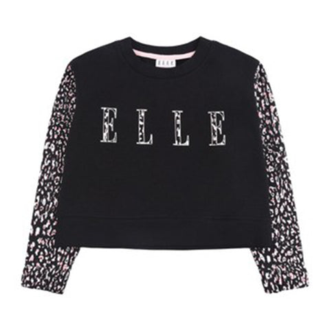 Elle -  Black sweat top, cheetah print sleeves