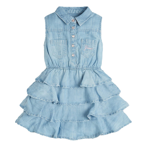 Ref: K1RK09DSX30  Girls soft denim Guess dress  Popper fastening at front  Ruffle tiered skirt  Machine washable 30*