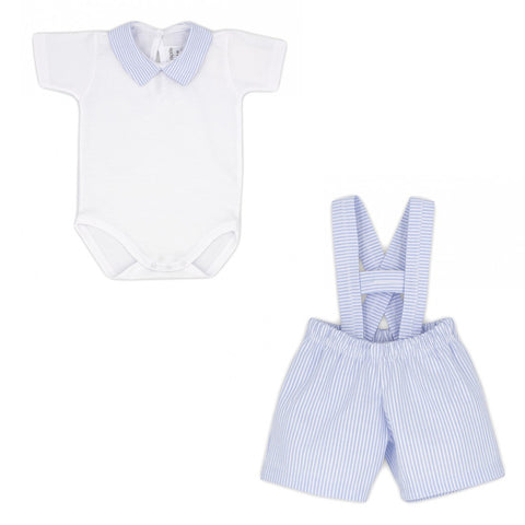 Ref: 4622  Rapife White body top with blue stripe collar, blue stripe dungarees  Dungarees 74% polyester 26% cotton  Body Top with popper fastening under legs, main fabric 100% cotton  Machine washable 30*