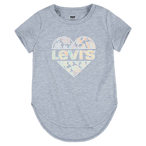 Levis - Girls grey T-shirt with heart logo