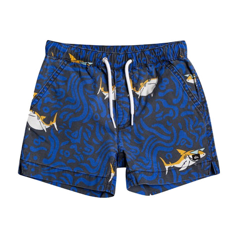 Boys Quiksilver shark patterned shorts   2 side pockets 2 back pockets  Elasticated drawstring waist  Quiksilver logo on left leg  98% cotton 2% elastane  Machine washable 30*