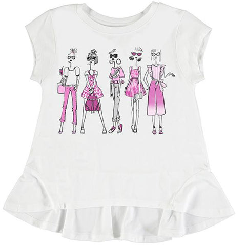 Mayoral - White  Tee shirt with best friend girls pink front design 6005
