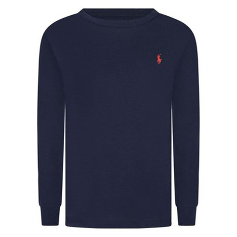 "Ralph Lauren - long sleeved navy tee shirt<BR> <span style=""color:#FF0000"">SALE"