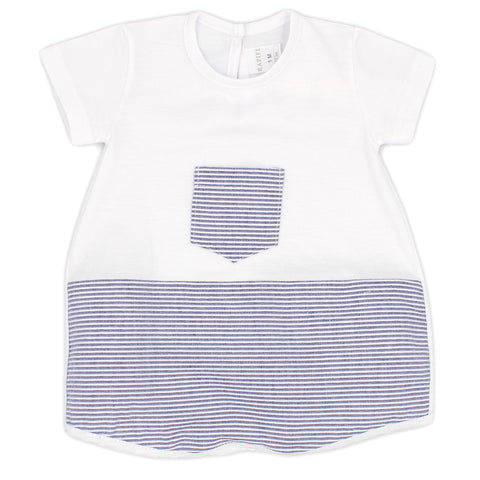 Rapife baby boys all in one, short romper ref: 4810   White top with front navy and white stripe pocket  Navy and white stripe bottom of romper  popper fastening at back and under legs  100% cotton  Machine washable 30*