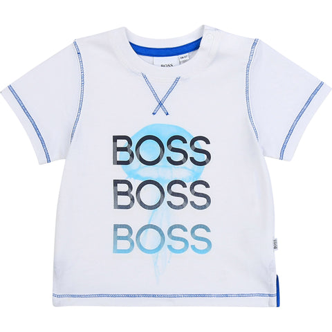 Baby boss tee shirt  Colour - white / turquoise print  96% cotton, 4% elastane  Machine washable 30*
