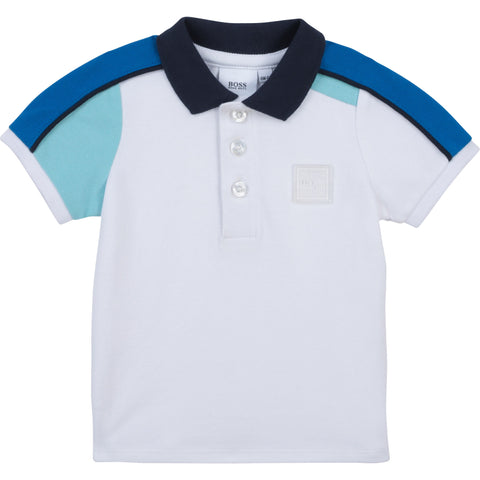 Boys polo tee shirt  Colour - white  Polo tee shirt  96% cotton, 4% elastane  Machine washable 30*