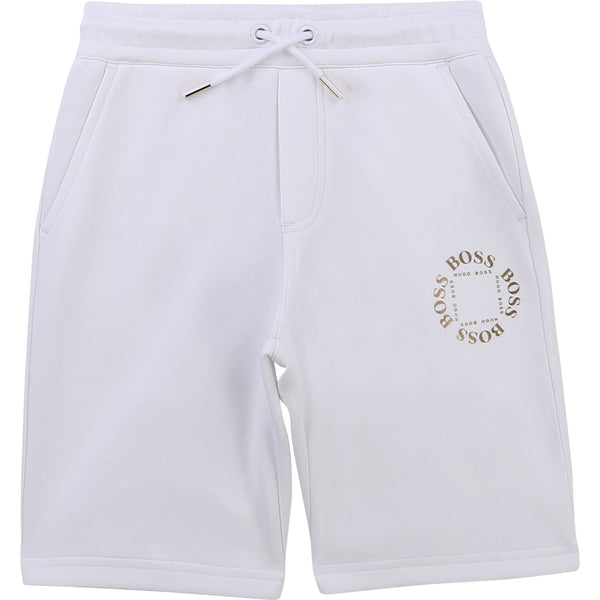 "Boys Boss Tripple Gold Collection white sweat shorts  A run down from adults, part of the ""Mini Me"" range  Colour - white  71% cotton, 29% polyester   machine washable"
