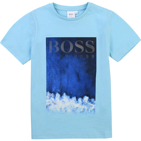 slim fit  Boys Boss tee shirt  Colour - turquoise /748  96% cotton, 4% elastane  Machine washable 30*
