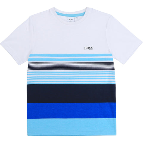 Boys Boss tee shirt  Colour - blue striped  96% cotton, 4%elastane  Machine washable 30*