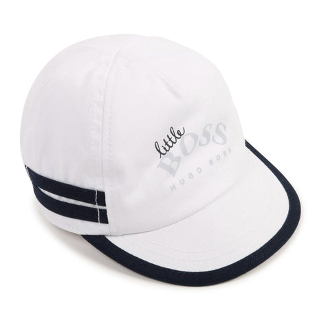 Boss baby boy sun cap  Ref: J91113/10B  colour - white with navy trim  'Little BOSS' front print  elasticated band at back for comfort  100% cotton  machine washable 30*