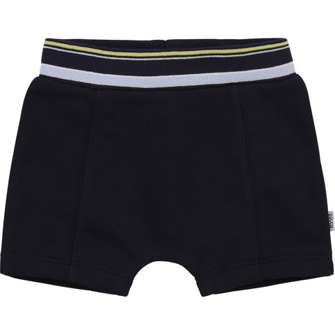 Boss baby boys soft shorts  Navy with pale blue and lemon lines on waist band and branding  88% cotton 12% polyester  Machine washable 30*
