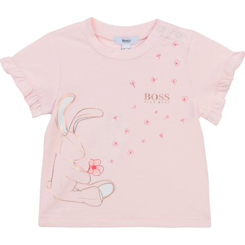 Boss Baby girl's pink bunny print tee shirt  Short sleeves with ruffle trim  Popper fastening on shoulderGold boss logo print on left chest  Rose gold bunny front print  95% cotton 5% elastane  Machine washable 30*