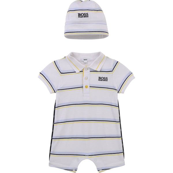 Boys Boss romper and hat, 2 piece set, romper and pull on hat  Ref: J98311  Colour - white with stripe detail  100% cotton  lining 80% cotton, 20% polyester  Machine washable 30* front chest Boss lbranding