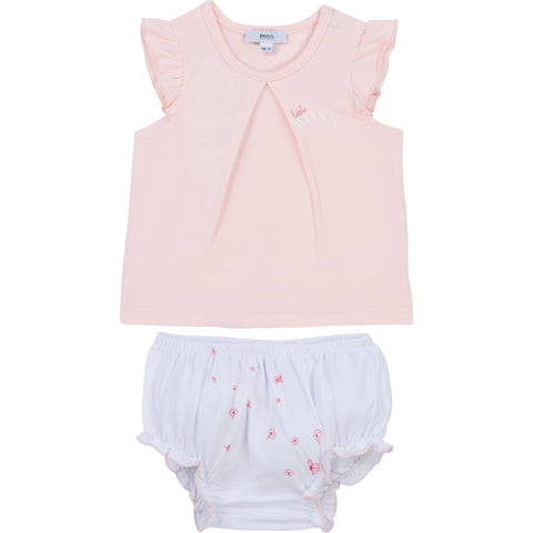Boss Baby girls 2 piece pant set  White bottoms with floral pattern on bottom  Pink tee shirt with ruffle cap sleeves   Popper fastening on shoulder  Boss branding on chest  95% cotton 5% elastane  Machine washable 30