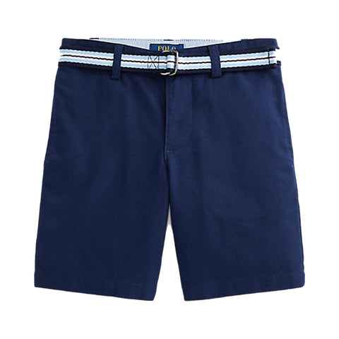 Ralph Lauren boys shorts, Ref: 328832061001  These wear-with-anything chino shorts are made with a hint of stretch and feature a striped belt for added polish.  Navy chino shorts with stripe belt  side pockets  Adjustable waist  98% cotton, 2% elastane  Machine washable 30*