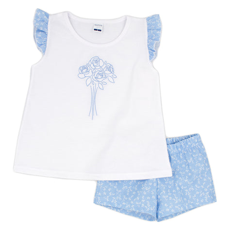 Rapife girls 2 piece short and t-shirt set ref: 5151  White top with needlework rose on front, blue ruffle floral cap sleeves  Matching Blue floral shorts  100% cotton  Machine washable 30*