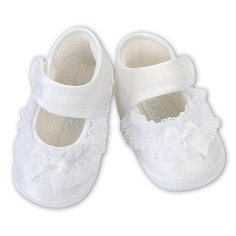 Sarah Louise  -  Baby white pram shoes, Christening shoes 004424