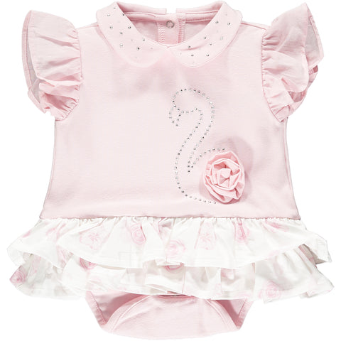 Little A romper, Jadine  Part of the Romantic Flamingo Collection  Colour - baby pink with white ruffles  Frilly flamingo romper  round collar with sparkle details  ruffle capped sleeves  Sparkle detail on front  95% cotton, 5% elastane  Machine washable 30*