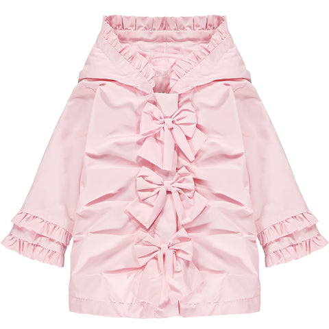 Little A Jaydn coat  Colour - pink  Romantic Flamingo collection  hooded jacket  bow front details   ruffle trimmed sleeves and hood  Machine washable
