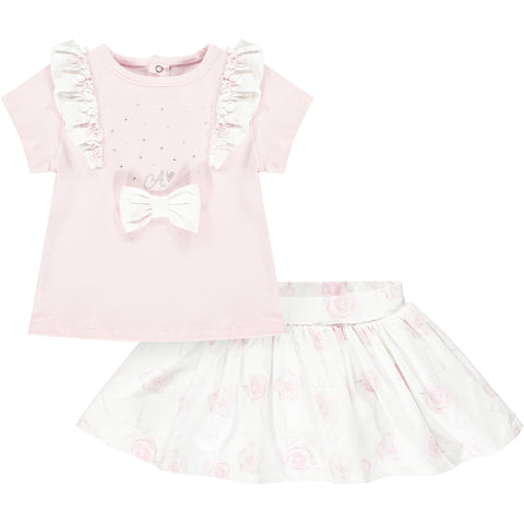 Little A Jamie  Part of the Romantic Flamingo Collection  2 piece set, top and skirt  Colour - baby pink top, patterned white skirt  Top with shoulder ruffles and front bow  Machine washable 30*
