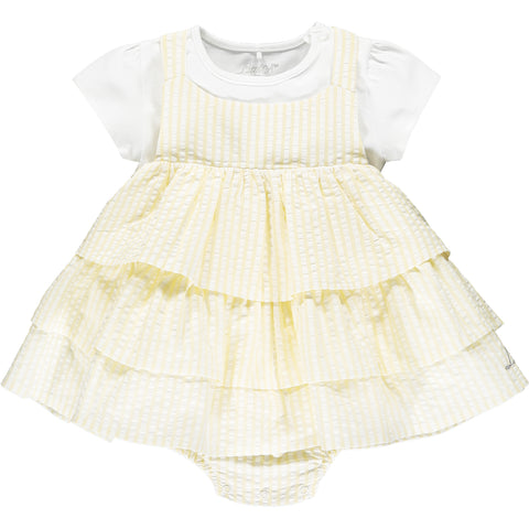 Hello Sunshine collection  Ref: Kayla romper with mock layered pinafore.  Cute 2 piece set, tee shirt and dress/romper  Colour - Lemon cake, white tee shirt, yellow and white stripe romper/pinafore  2 piece set - Top - 95% cotton,  5% elastane,   pinafore/romper seersucker 100% cotton  popper fastening under legs  pinafore/romper with silver 'Little A' silver branding at front hem  Machine washable 30*