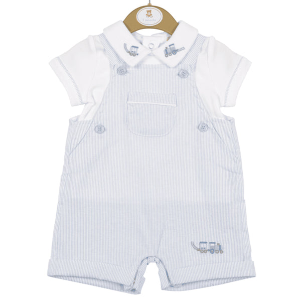 Colour - pale blue and white   White top  Pale blue and white stripe dungarees  Train detail on collar  Machine washable 30*