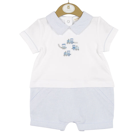 Mintini - Pale blue/white romper, MB3316