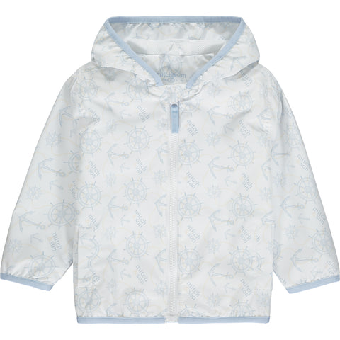 Mitch & Son white jacket with anchor and wheel pale blue print Shell - 100% Nylon Lining - 65% Polyester 35% Cotton machine washable 30*