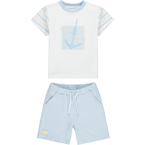 Mitch & Son boys Buchanan White top, pale blue shorts  2 piece set - shorts and tee shirt