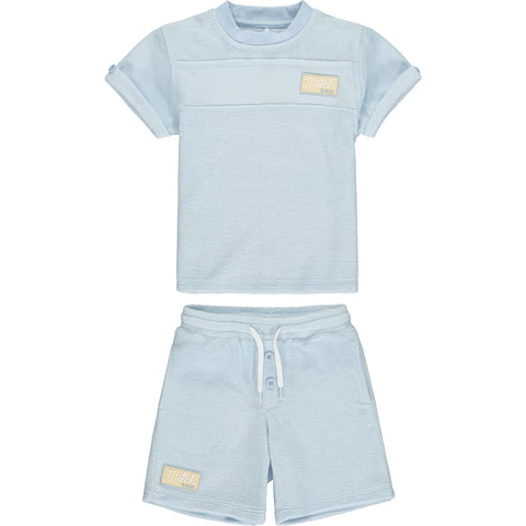 Mitch & Son Bridgegate Pale blue   2 piece set, shorts and tee shirt  Towelling fabric