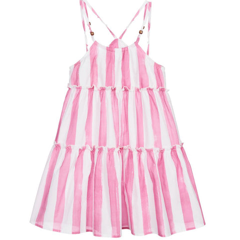 Mayoral - Pink and white stripe sundress 6947