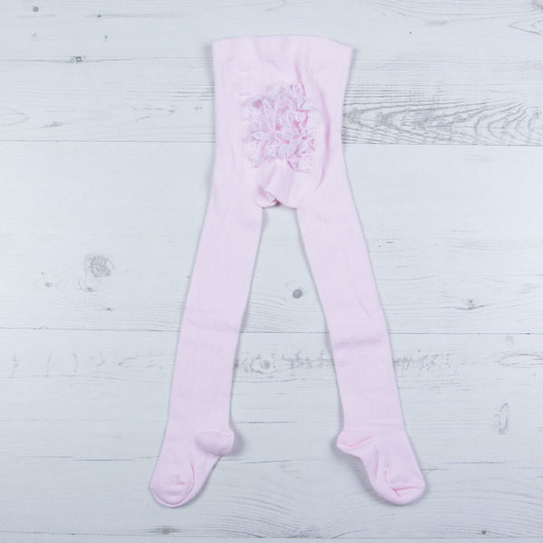 Carlomagno - baby girls pale pink frilly tights, 1228
