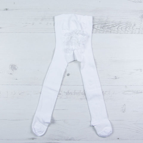Carlomagno - baby girls white frilly tights, 1228
