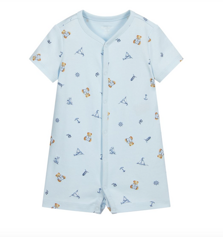 Ralph Lauren baby boy romper Ref: 320833655001  Colour - pale blue  teddy bear and yacht all over print  100% cotton  Machine washable 30*