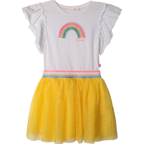 Billieblush rainbow dress, Funky Rainbow dress  White bodice with rainbow motif, yellow skirt  elasticated waist  Machine washable 30*