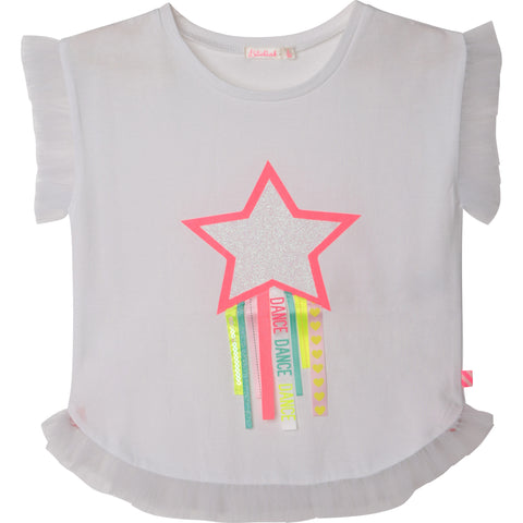 Billieblush -  white star ribbon tee shirt