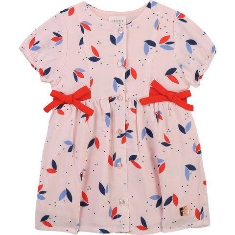 Carrément Beau  Girls pink dress  100% soft viscose  Lining 100% cotton  Button fastening down front  ties at side waist  Machine washable 30*