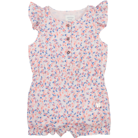 Carrément Beau Girls Floral playsuit  Fully lined  button front fastening  Short  ruffle sleeve  elasticated waist  100% viscose  Lining 100% cotton  Machine washable 30*
