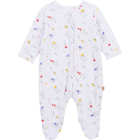 Carrément Beau Baby girls white all in one with bird and branch all over print  popper fastening down front and under legs  100% cotton  Organic cotton  Machine washable 30*