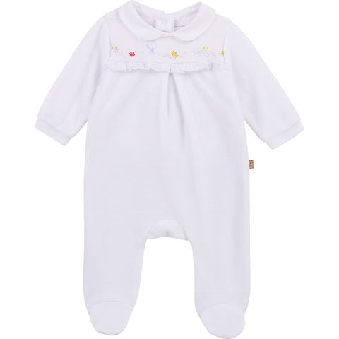 Carrément Beau Baby girls white velour all in one  popper fastening down back   75% cotton.  25% polyester  Organic cotton  Machine washable 30*