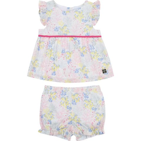 Carrément Beau Girls 2 piece set, top and pants White with pink and pale blue coral pattern 100% soft cotton Lining 100% cotton Popper fastening down back Machine washable 30*  Edit alt text